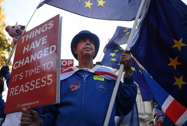 Mielenosoittaja vaatii uutta kansanäänestystä Brexitistä.