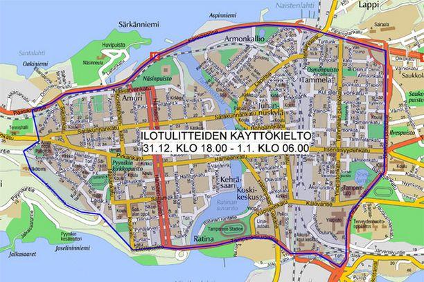 Ilotulitteiden ampuminen on kielletty alueella Paasikiventie – Kekkosentie – Kalevan puistotie – Viinikankatu – Tampereen valtatie – Eteläpuisto – Näkötornintie – Vesilinnankatu – Paasikiventie.