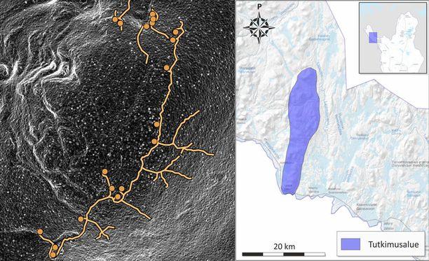 Aleksi Rikkinen sanoo, että Sturmbock-linja erottuu Maanmittauksen ilmakuva- ja laserkeilausdatasta silmämääräisesti. Kymmenien kilometrien mittainen linja sijaitsee Käsivarren Lapissa.