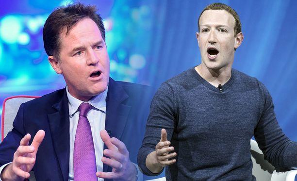Nick Clegg (vas.) että Mark Zuckerberg (oik.) eivät näe Facebookin kokoa huonona asiana.