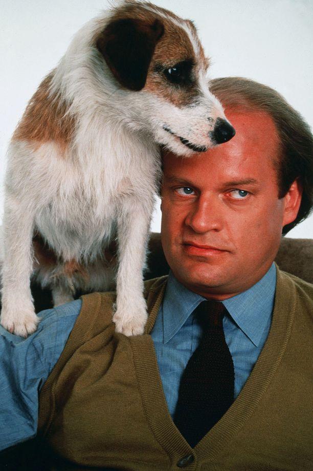 Eddie ja Frasier eli Moose ja Kelsey Grammer vuonna 1993.