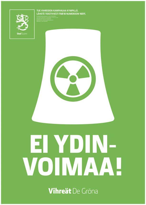 Tämän julisteen vihreiden puoluejohto tilasi Fukushiman onnettomuuden jälkeen.
