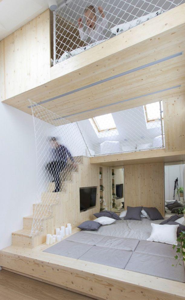 Turvaverkot mahdollistavat tilan käytön kattoon asti.
