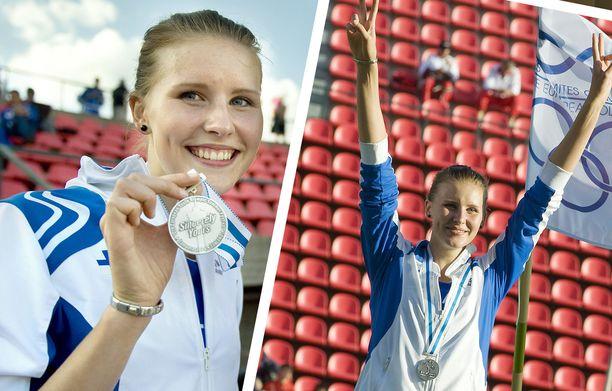 Kristiina Mäkelä voitti 16-vuotiaana hopeaa tuloksella 13,14 Euroopan nuorten olympiafestivaaleilla Tampereella 2009.