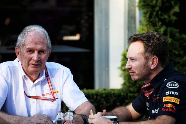 Red Bullin johtomiehet Helmut Marko ja Christian Horner ovat huolissaan Mersun ylivoimasta.