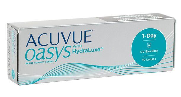 Acuvue Oasys 1-Day HydraLuxe -kertakäyttöpiilolinssit.