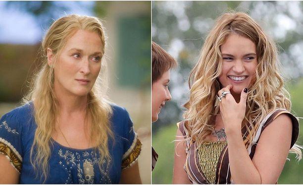 Jatko-osassa perehdytään tarkemmin Donnan nuoruuteen. Vasemmalla Meryl Streep aikuisena Donnana ja vasemmalla Downton Abbey-näyttelijänäkin tunnettu Lily James. James näyttelee elokuvassa nuorta Donnaa.