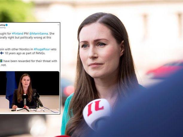 Amerikkalainen EU-toimittaja Dave Keating kommentoi Twitterissä pääministeri Marinin neuvottelutuloksia.