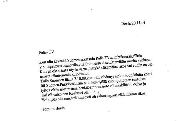 Tällainen oli kirje, joka käynnisti murhatutkinnan Piia Ristikankareen tapauksessa.