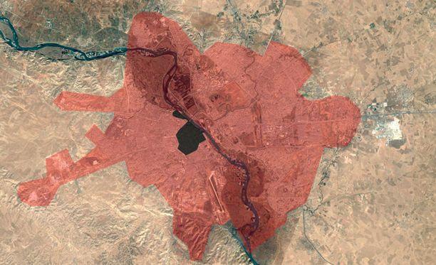 Isis hallitsee enää pientä osaa Mosulin kaupungista. Terroristijärjestön alue merkitty mustalla, Irakin armeijan hallitsema alue punaisella.