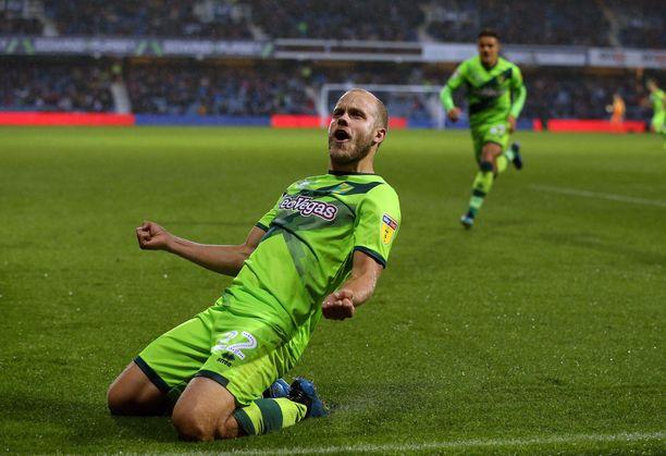 Teemu Pukki on tuulettanut maalia Norwichin paidassa jo kuusi kertaa.