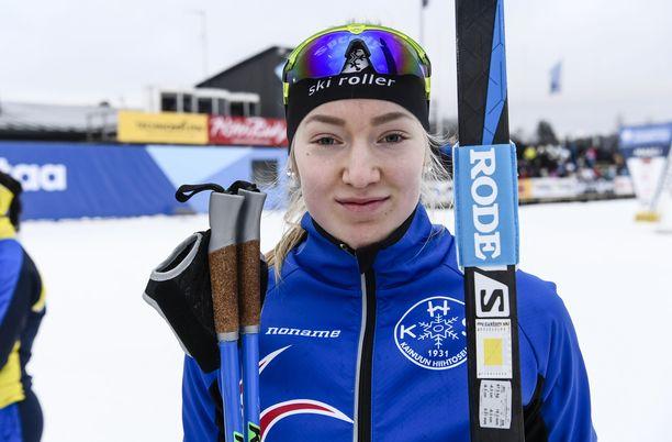 Anita Korva hiihti nuorten MM-pronssia Lahdessa. Arkistokuva.