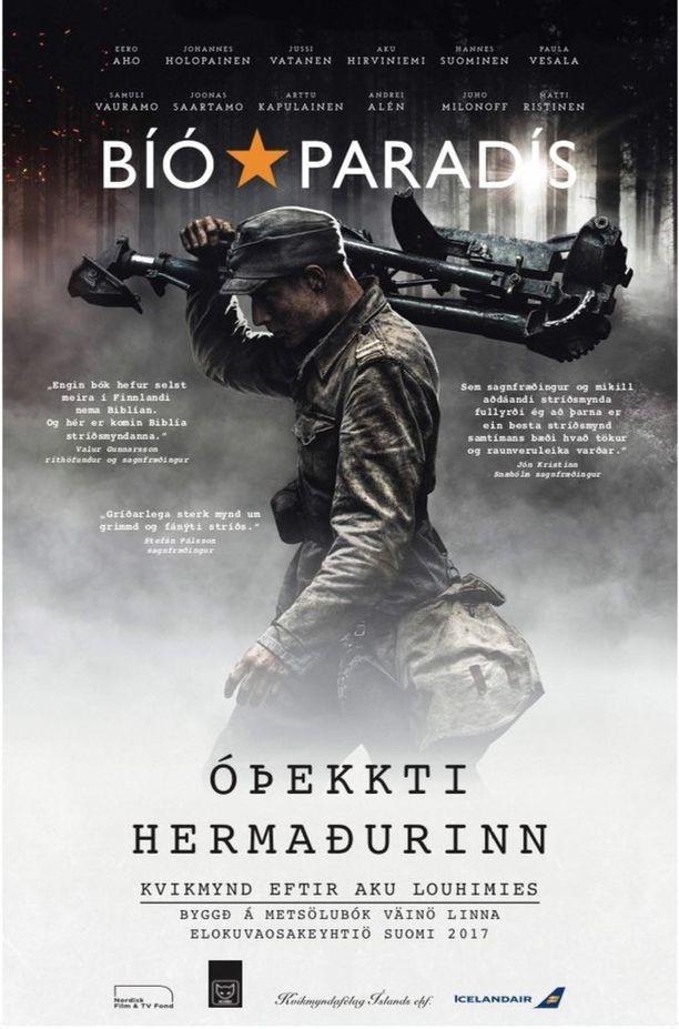 Tältä näyttää Tuntemattoman sotilaan elokuvajuliste islanniksi.