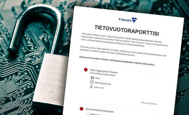 Jos tietoja on päässyt vuotamaan, lähettää F-Secure sinulle raportin.