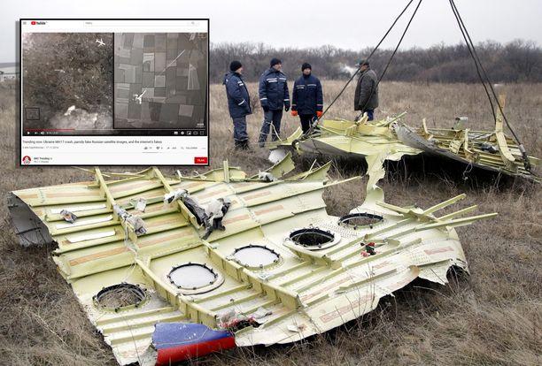 Venäjän valtiontelevisio näytti väärennettyä valokuvaa. Edessä koneen osia lähellä Donetskia Grabovon kylässä 18. marraskuuta 2014.