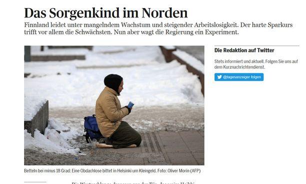 Tages Anzeiger on kuvittanut Suomen taloutta käsittelevän juttunsa näin.