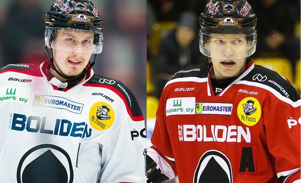 Jussi Makkonen ja Ville Korhonen urakoivat isoja minuutteja Ässissä. Makkonen teki runkosarjan 45 ottelussa tehot 9+14=23, Korhosen saldo 56 pelissä oli 11+16=27.
