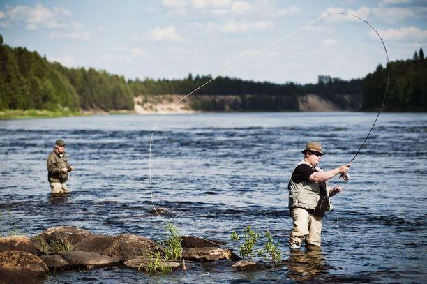 Harri Rautajoki (edessä) ja Timo Salminen kalastivat kesällä Kemijoen Tikkasenkarissa, joka uhkaa jäädä Kemijokiyhtiön suunnitteleman Sierilän altaan alle. Arkistokuva.