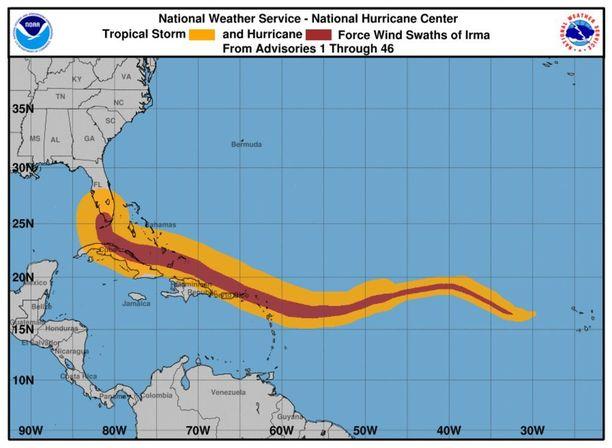 Tästä grafiikasta nähdään, kuinka myrsky on tähän mennessä edennyt ja kasvanut.