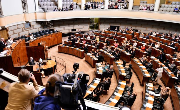 Kuvituskuva eduskunnan täysistunnosta.