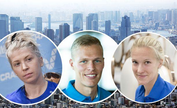 Sara Kuivisto (vas.), Topi Raitanen ja Camilla Richardsson tähtäävät EM-kisoihin Tokion sijaan.