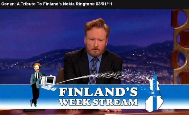 Conan O'Brien pitää Suomea esillä erilaisilla tempauksilla.
