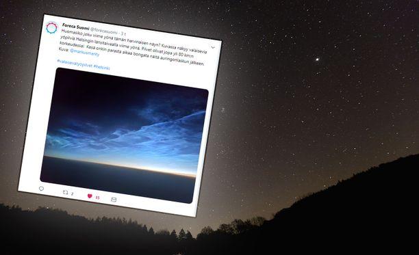 Valaisevia yöpilviä esiintyy todennäköisimmin seuraavan reilun kuukauden aikana.