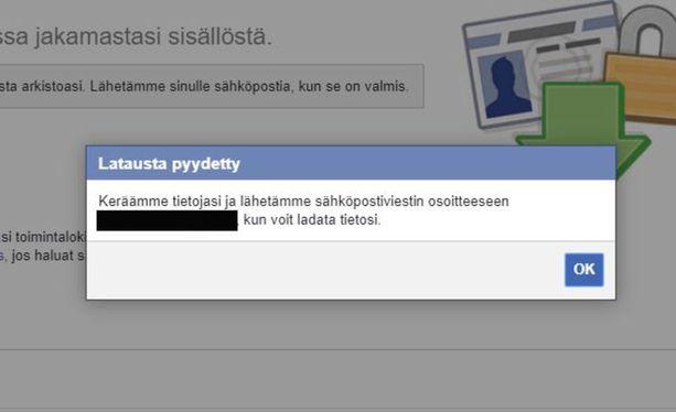 Kun linkkiä on klikattu, FB alkaa tietojen koostamisen. Iltalehden testissä tiedot saapuivat alle puolessa tunnissa.
