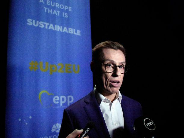 Alexander Stubb piti ratkaisevan kärkiehdokaspuheensa torstaina Helsingin messukeskuksessa.