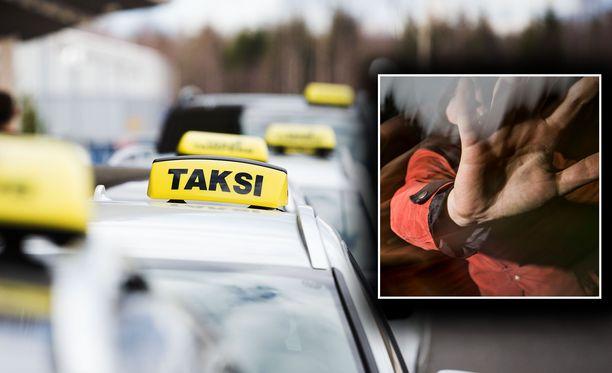 Taksikuski ja asiakas ottivat toisistaan mittaa Helsingissä. Kuvituskuvat.