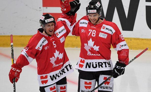Chay Genoway ja Marc-Antoine Pouliot edustivat Kanadaa viime kaudella Spengler cupissa.