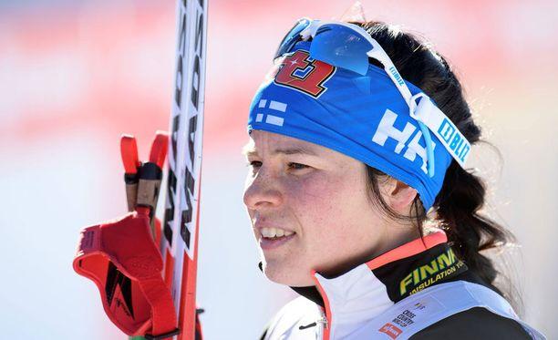 Krista Pärmäkoski on tämän kauden maailmancupissa kolmantena.