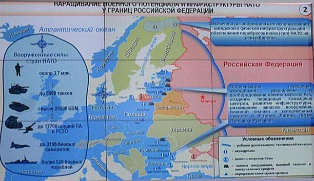 Vaarallinen alue: Venäläiskenraali Andrei Kartapolov näytti tämän karttakuvan puolustuskonferenssissa Moskovassa toukokuussa 2015. Tutkija Dmitri Gorenburgin blogissaan julkaisemassa kuvassa on Pohjois-Euroopan sotilastilanne venäläissilmin.