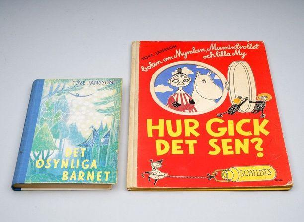 TOVE JANSSON muumikirjat 1950-luku. Kirjat: Hur gick det sen, ja Det osynliga barnet, jossa Tove Janssonin omistuskirjoitus. 506 euroa 18.01.2017.