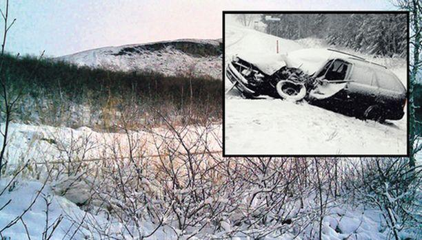 Kilpisjärven Saana sai lumihuntunsa jo keskiviikkona. Henkilöauton matka päätyi kinoksiin vuosi sitten Töysässä.