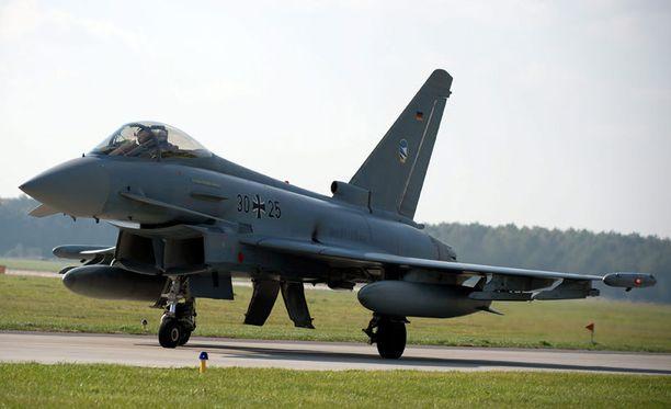Naton mukaan myös Suomenlahdella olisi havaittu tiistaina seitsemän kansainvälisessä ilmatilassa lentänyttä venäläiskonetta. Kuvassa saksalainen hävittäjä Eurofighter.
