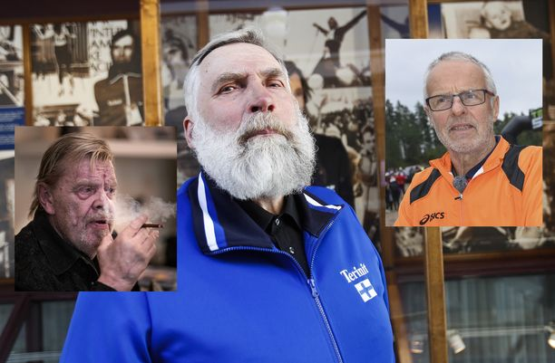 Juha Mieto löi Vesa-Matti Loirille (vas.) ja Lasse Virénille luun kurkkuun kaljakisassa.