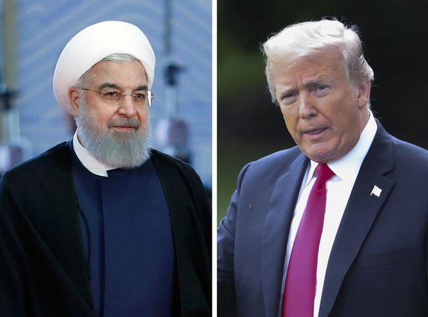 Yhdysvaltain presidentti Donald Trump (vas) näyttää olevan Iranin vastaisten talouspakotteidensa suhteen tosissaan, mutta Iran rimpuilee vastaan presidentti Hassan Rouhanin johdolla.