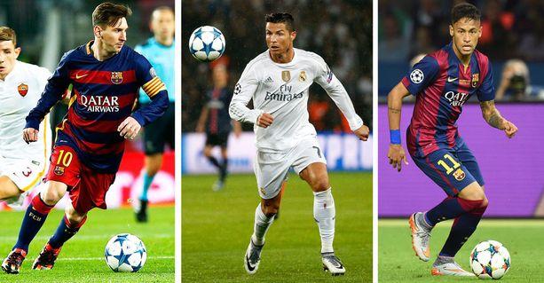 Messi, Ronaldo ja Neymar kilvoittelevat maailman parhaan palkinnosta.