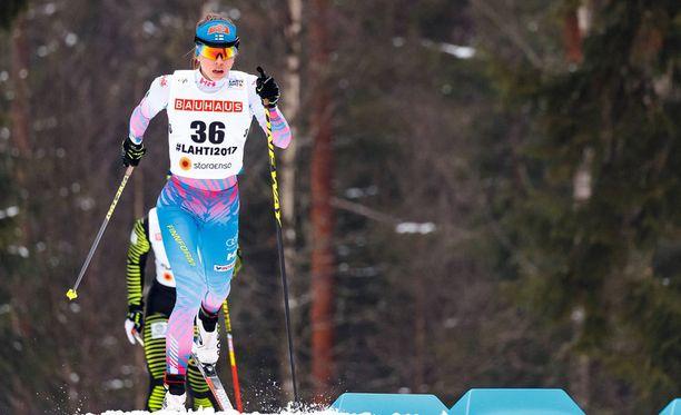 Laura Mononen oli tyytyväinen hiihtoonsa lauantain kuudella kilometrillä. Arkistokuva.