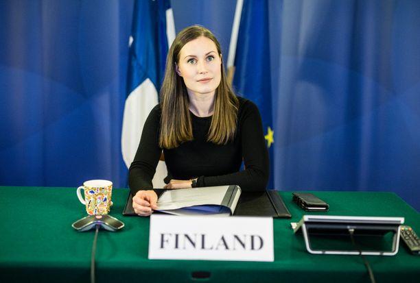 Sanna Marin (sd) osallistui torstaina pidettyyn Eurooppa-neuvoston kokoukseen etäyhteydellä.