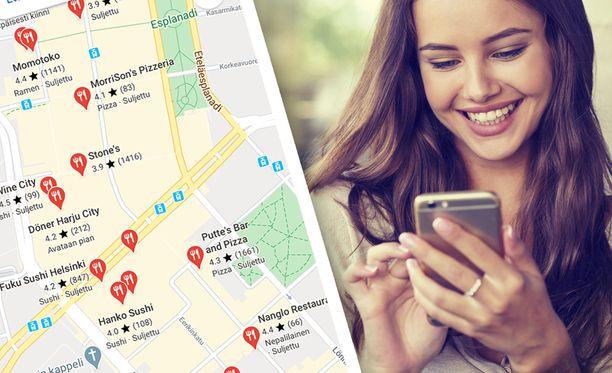 Google Maps näyttää ravintolat, jotka tarjoavat kotiinkuljetusta.