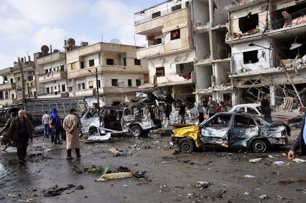 Nusran rintama on ollut osallinen useisiin pommi-iskuihin Syyriassa. Kuva Homsin kaupungista helmikuussa 2016.