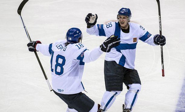 Sami Lepistö ja Juuso Hietanen ovat ehdolla Suomen olympiajoukkueeseen. Miehet olivat mukana Leijonissa myös Sotshissa 2014.