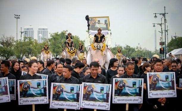 Thaimaan kuningas Bhumibol Adulyadej kuoli viime kuussa hallittuaan sitä ennen maata seitsemän vuosikymmentä. Kuvassa elefanttiparaati kuninkaan muistoksi 8. marraskuuta Suuren palatsin edustalla Bangkokissa.