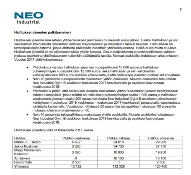 Pörssiyhtiö Neo Industrial maksoi Matikainen-Kallströmille viime vuonna vajaat 20 000 euroa.