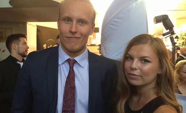 Patrik Laine ja Sanna-Mari Kiukas vuonna 2017.