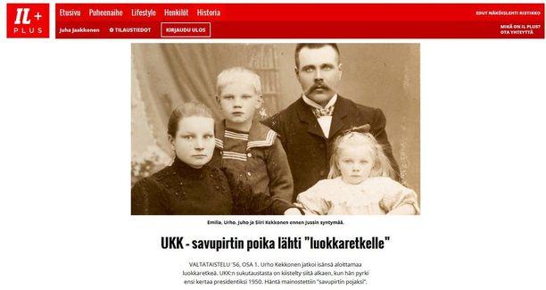Mittava juttusarja Urho Kekkosesta alkoi pyöriä tänään Iltalehden Plussassa. Sarjan ensimmäinen osa kertoo UKK:n lapsuudesta.