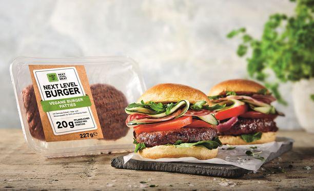 Next Level Burger on Lidlin omaa tuotantoa oleva vegaaninen hampurilaispihvi.