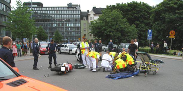 Onnettomuus tapahtui Tokoinrannassa ympyrätalon vierellä.